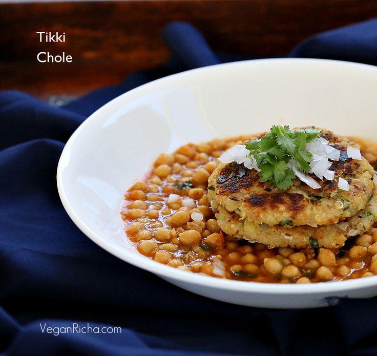 Potato Quinoa Patties with Chickpea curry - Tikki chole