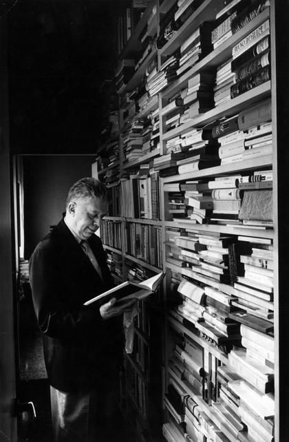 Eugenio Montale in his library, Milano, 1962 -by Mario De Biasi  from and more : 'Writers reading' in Panorama