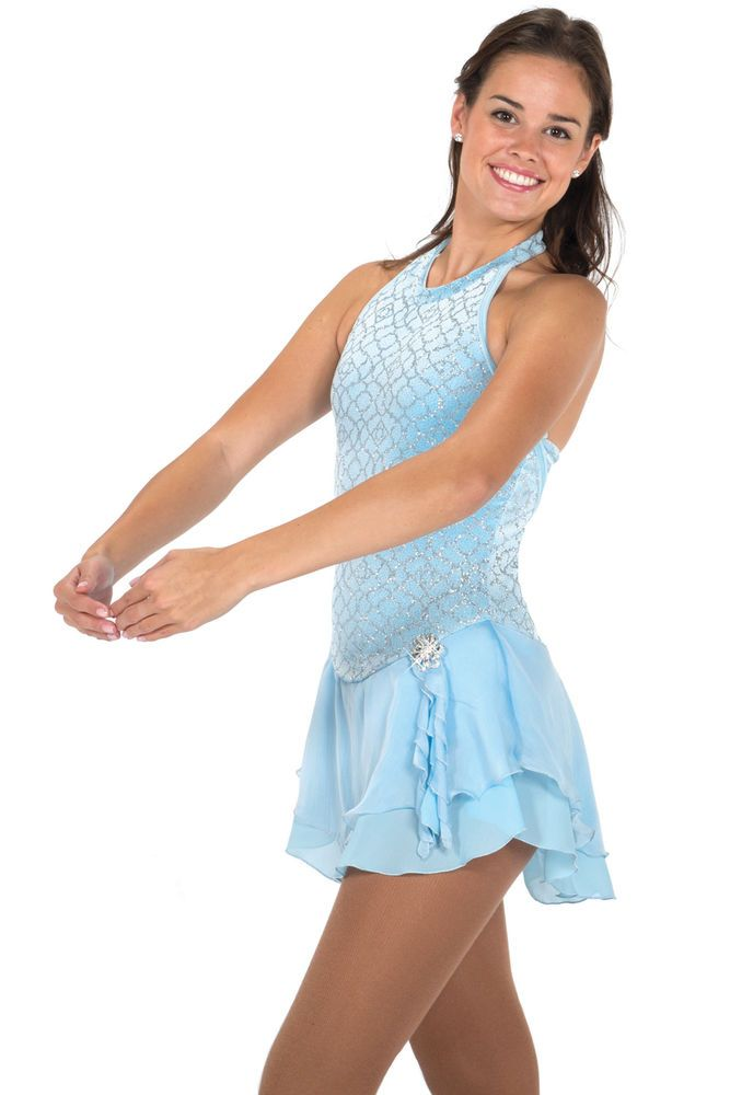 COMPETITION SKATING DRESS JERRY 677 BLUE MADE ON ORDER 3 WEEKS FABRICATION