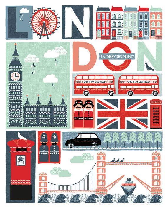 Quirky London Illustrative Print 8x10 Poster von helenrobin auf Etsy