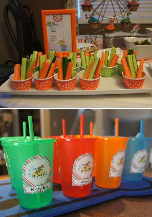 Drinks and snacks at a Go, Dog! Go! Birthday Party!  See more party planning ideas at CatchMyParty.com!