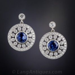 Edwardian Style Sapphire and Diamond Earrings