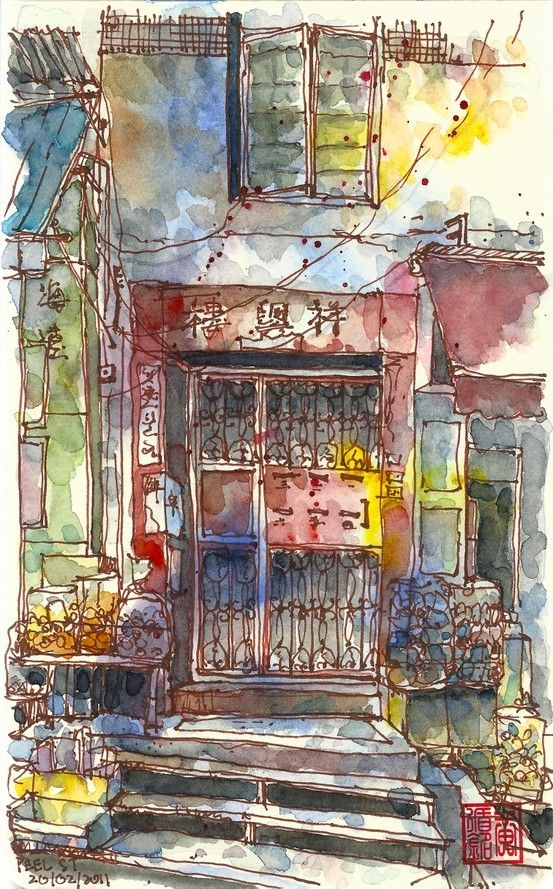 watercolour inspiration by jocelynWatercolor Painting, Watercolors Inspiration, Urban Sketchers, Watercolor Art Paintings, Art Journals, Watercolors Art, Peel Street, Painting Watercolors, Watercolors Painting
