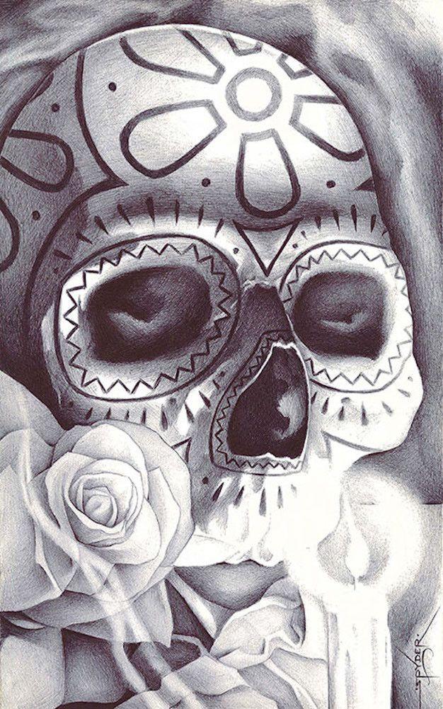 An Elaborate Display by Spyder Sugar Skull Tattoo Canvas Art Print