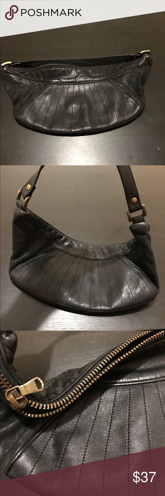 Vintage Armani exchange purse This is an adorable bag, leather trim. Clean interior. Very good condition, black, small. A/X Armani Exchange Bags Mini Bags
