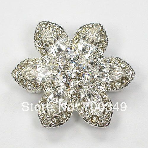 Посеребрение прозрачный кристалл горный хрусталь невесты свадьба ну вечеринку пром булавка брошь компактный цветок ювелирные изделия подарок C2154 макияж-1