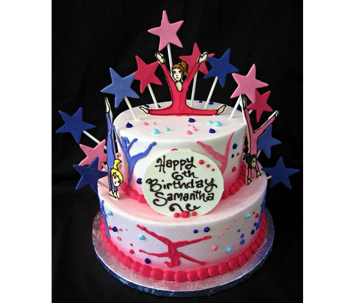 "Girls will ""flip"" over this Gymnastics birthday cake!"