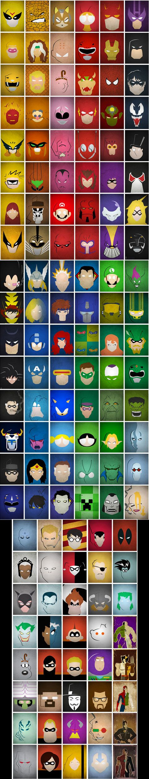 Minimalistic comic faces. Most of these I don't know, but It's cool.