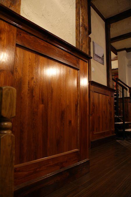 wood wainscot bar. wood molding