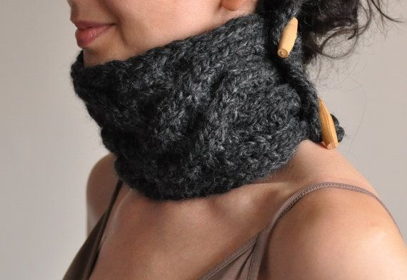 Celtic Connection hand knit UNISEX chunky cable texture neckwarmer collar cowl neckwear with wooden toggles in charcoal or CHOOSE Your COLOR on Etsy, $54.00