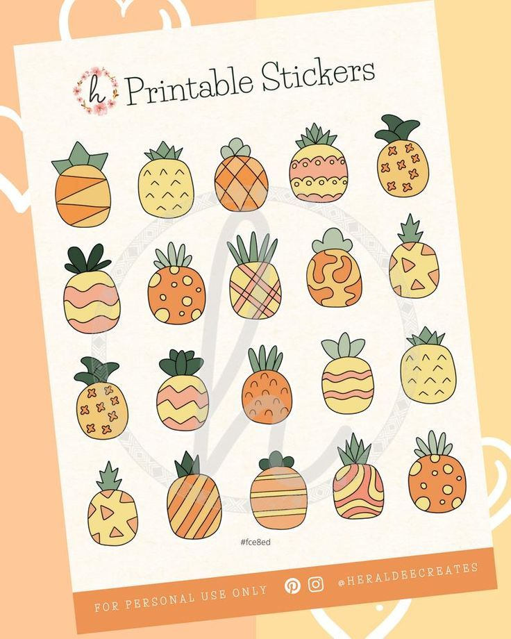 Rainbow Pineapple Sticker Watercolor Pineapple Pineapple Art