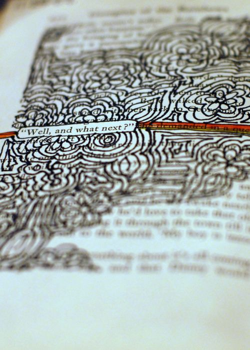 Cute idea... Find a quote on a page of a book, and then go nuts with drawing all over the rest!