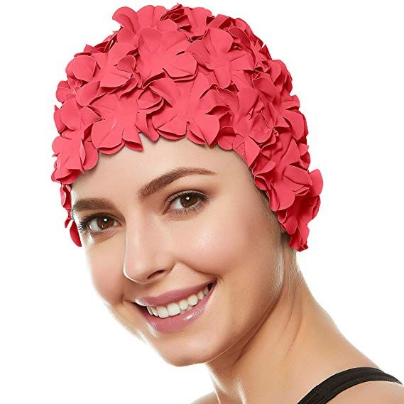Vintage Floral Ladies Woman Swim Cap Petal Retro Swimming Hat Flower Bathing Cap