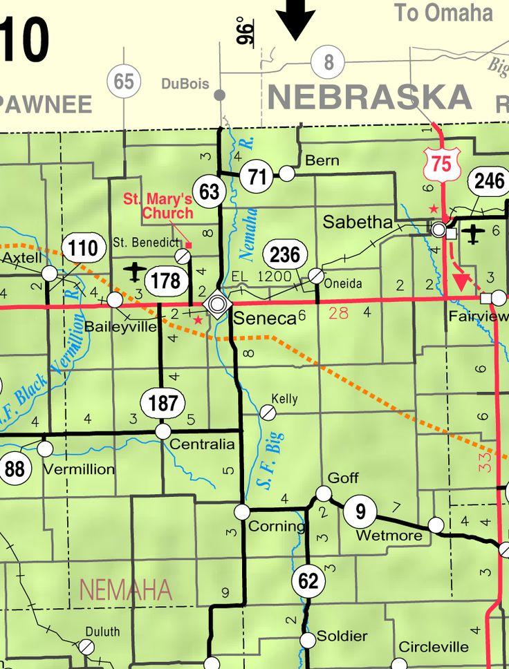 Map of Nemaha Co. KS, USA