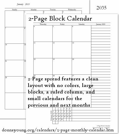 2-Page Block Calendar - This printable calendar has two pages per