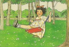 Schommelend meisje - Rie Cramer illustration