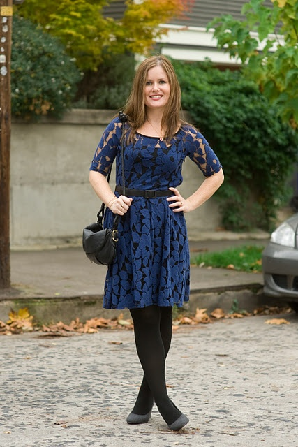 Blue lace dress + black tights | Holiday Outfits | Pinterest