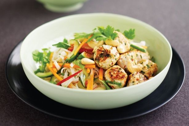 Coriander chicken balls with rice noodle salad main image