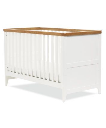 Mothercare Summer Oak Cot Bed - White - cot beds - Mothercare