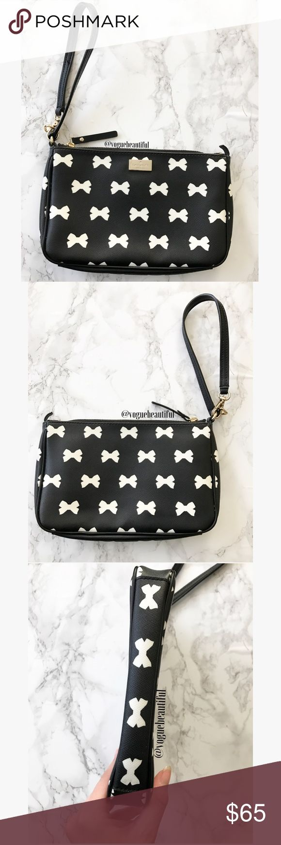 Kate Spade Brightwater Drive Linet Bows Wristlet Super cute 100% authentic Kate Spade bright water drive linet bows wristlet - great preloved condition, only signs of wear are some hairline scratches to KS nameplate & the loop to make it a shoulder bag is broken but perfectly functional as a wristlet - interior features signature KS polka dot lining & 4 card slots - DIMENSIONS: 8.75 inches across x 5.5 in. height - for reference my iPhone 7 Plus fits in here comfortably - !!NO TRADES!! kate…