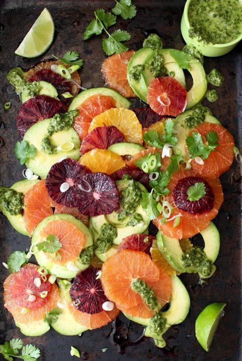 Orange Avocado Salad with Cilantro Lime Dressing by ciaoflorentina: A California style orange avocado salad recipe with a creamy scallion lime dressing drizzle. #Salad #Orange #Avocado #Lime #Cilantro #Healthy