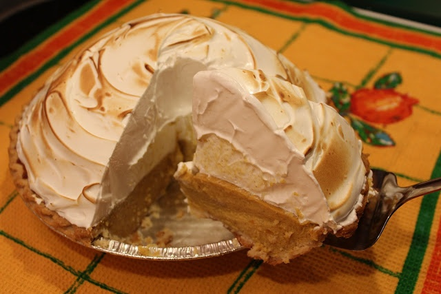 Deep dish Pumpkin pie topped with Meringue