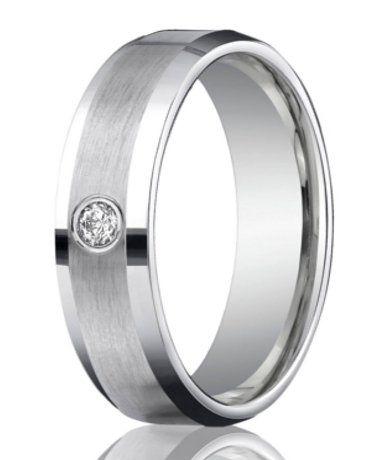 Designer 950 Platinum Single Diamond Men's Wedding Ring | 6mm