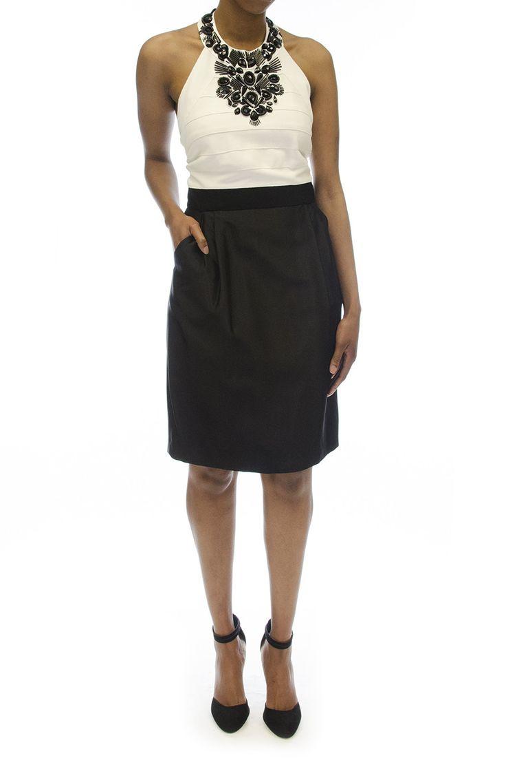 Carmen Marc Valvo White & Black Jeweled Top Halter Dress