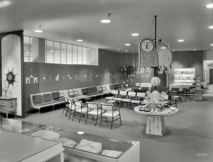 """Children's shoes, Lord & Taylor. Bala Cynwyd, Pennsylvania. Raymond Loewy Associates."" Gottscho-Schleisner photo"