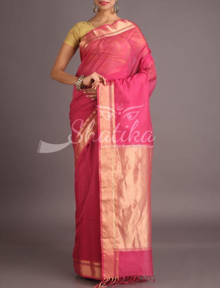 Ekta Enchanting Pink With Molten Gold Border Maheshwari Silk Cotton Saree