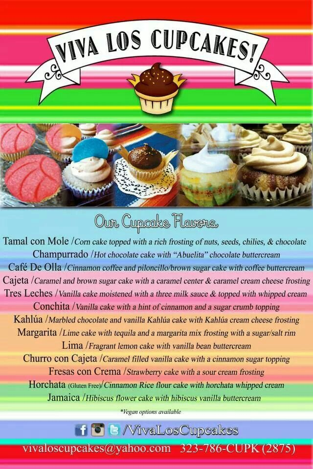 Viva Los Cupcakes - these combinations are intriguing!! Mexican inspired -