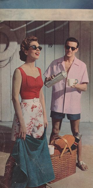 Vacation-time, 1955 - Of course there is a man along to take care of all my needs including pouring me a cocktail, fetching anything I need, applying my suntan lotion and escorting me to dinner and dancing ;-) !
