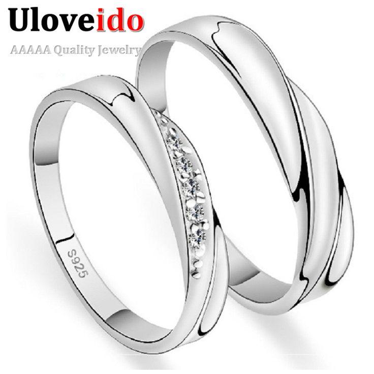 Pareja Anillos de bodas para Los Hombres y Las Mujeres 2017 un Par amor de plata del cristal plateado del anillo de compromiso joyería 20% de descuento uloveido J293