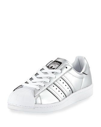 Superstar+Metallic+Leather+Sneaker,+Silver+by+Adidas+at+Neiman+Marcus.