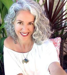 Image result for gray hair styles shoulder length hair