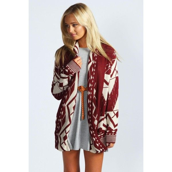 Boohoo Sophie Aztec Cardigan ($30) ❤ liked on Polyvore featuring tops, cardigans, wine, striped cardigan, red crop top, aztec cardigan, crochet cardigan and vintage crop top
