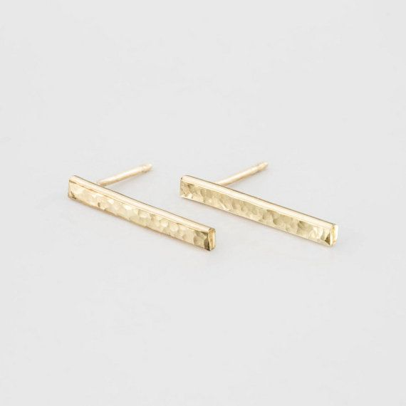 Minimal Bar Stud Earrings. Simple Earrings In 14k Gold Filled or Sterling Silver. Well made, timeless, easy to wear bar studs! Your new staple earrings. The BAR STUD Earrings  …………………………………. D E T A I L S  - All materials are 14k Gold Filled or Sterling Silver - Earring height is 16mm.