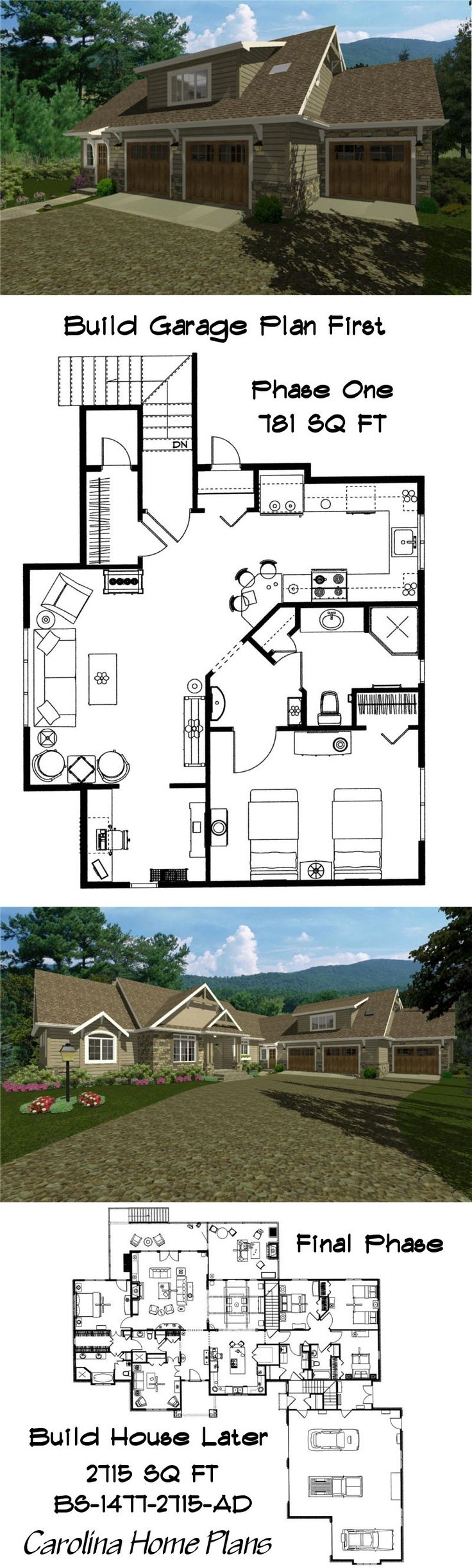 best garages to live in. Build this delightful 1 bedroom garage apartment first to live in while  building the luxurious craftsman 38 best Carport images on Pinterest Garage house Garages and