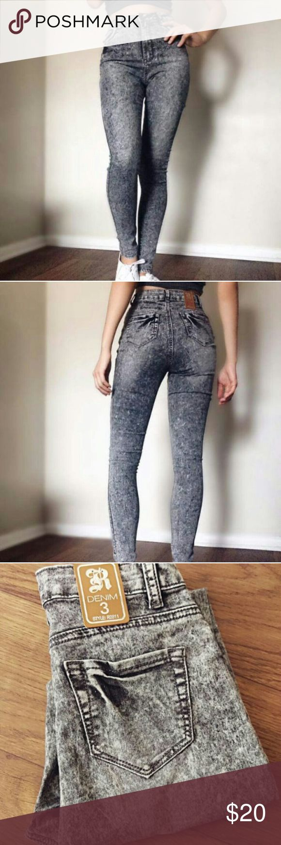 Women's high waist jeans / Bleachy Grey Note: I am the one modeling the jeans.   BRAND SPANKIN NEW! Tag on the back. Brand: ROX DENIM  Grey bleachy look  Size: 3     Note: I try to describe my items to the best of my knowledge and list if there is any noticeable imperfections Pants Skinny