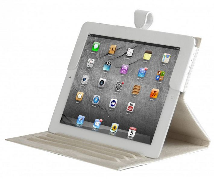 Smooth white, classic leather folio case for iPad & iPad mini. Price: $70-80. More information: www.dbramante1928.com.