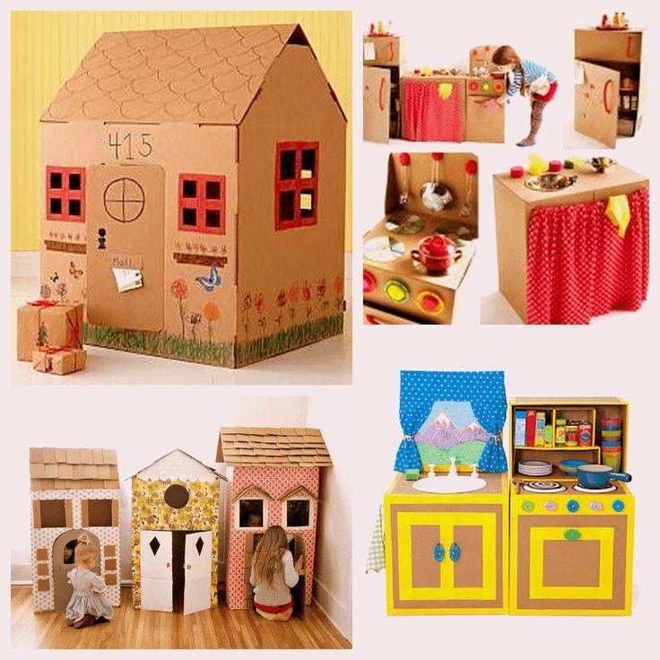 Faça você mesmo brinquedos reciclados com ajuda de seu filho - Casa com comida
