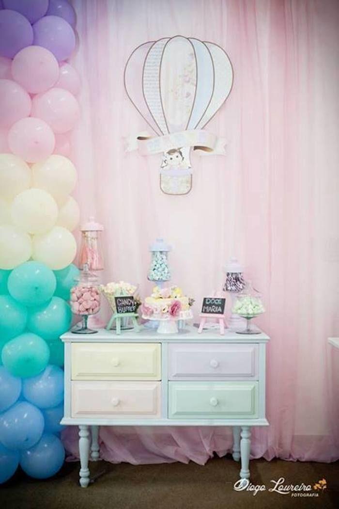 Pastel Rainbow Hot Air Balloon Party