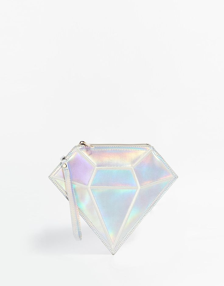 Daisy Street Holographic Diamond Clutch Bag