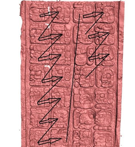 Jeroglíficos mayas. México. A screenshot of the 3D scan of the cast of the upper part of the east side of Stela J at Quiriguá, with added arrows showing the typical double-column read...