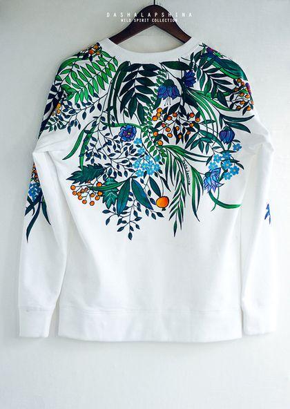 Толстовка Botanic Garden - роспись одежды,роспись по ткани,красивый рисунок