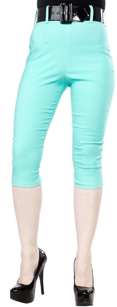 clothes: PINUP COUTURE CAPRI PANTS MINT - Sourpuss Clothing