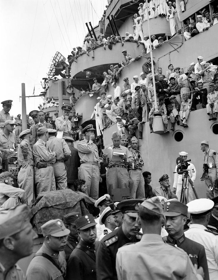 On the deck of the USS Missouri, Tokyo Bay, before the formal Japanese surrender ceremony, September 2, 1945. Frank Filan.