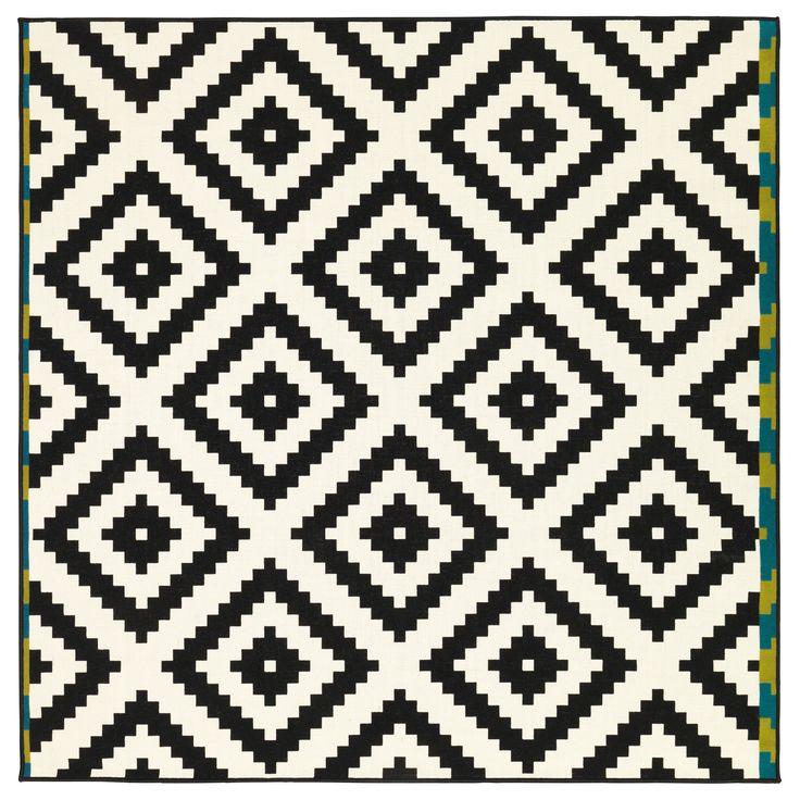 LAPPLJUNG RUTA Tapis, poils ras - blanc/noir - IKEA  59,90-