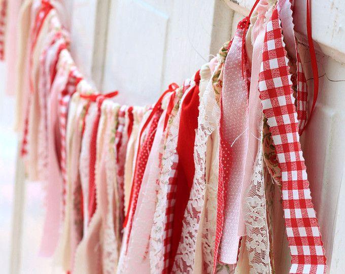Fresa Garland Vintage verano feliz cumpleaños Banner fiesta guinga roja blanco encaje rosa Escribano Chic Shabby granjero mercado tabla de la boda