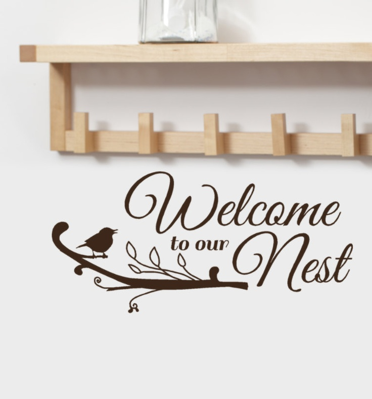 Welcome to our nest vinyl wall decal words greeting with cute bird welcome to our nest vinyl wall decal words greeting with cute bird on tree branch entryway decor spring decor 1500 via etsy m4hsunfo